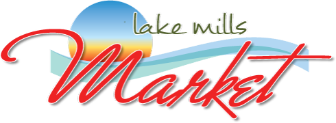 A theme footer logo of Lake Mills Market